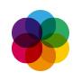 Überlappende Farbrkreis rund angeordnet