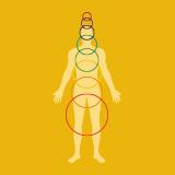 Farbige Aura-Ringe über einem menschlichen Körper